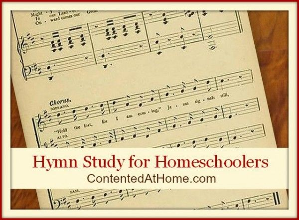 Hymn study for homeschoolers.  10 popular hymns that are explained,  have a bio on the authors and tell what prompted them to write the songs.  doing this!