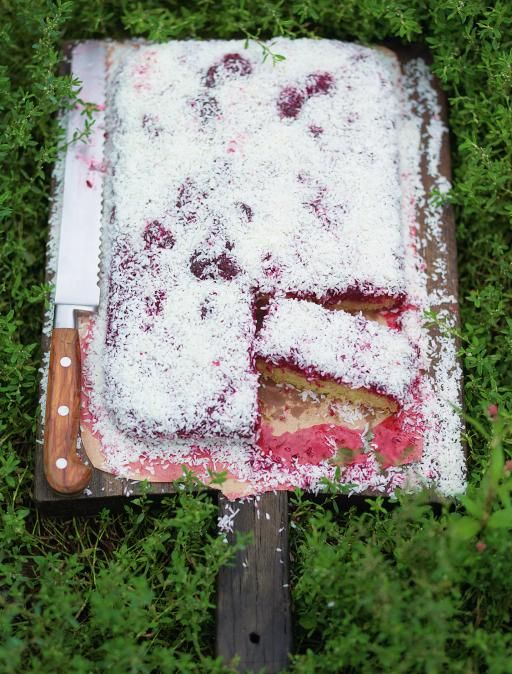 Jamie Oliver - Jammy Coconut Sponge http://www.jamieoliver.com/recipes/recipe/jammy-coconut-sponge/?utm_source=social&utm_medium=RecipeOftheDay&utm_term=2014