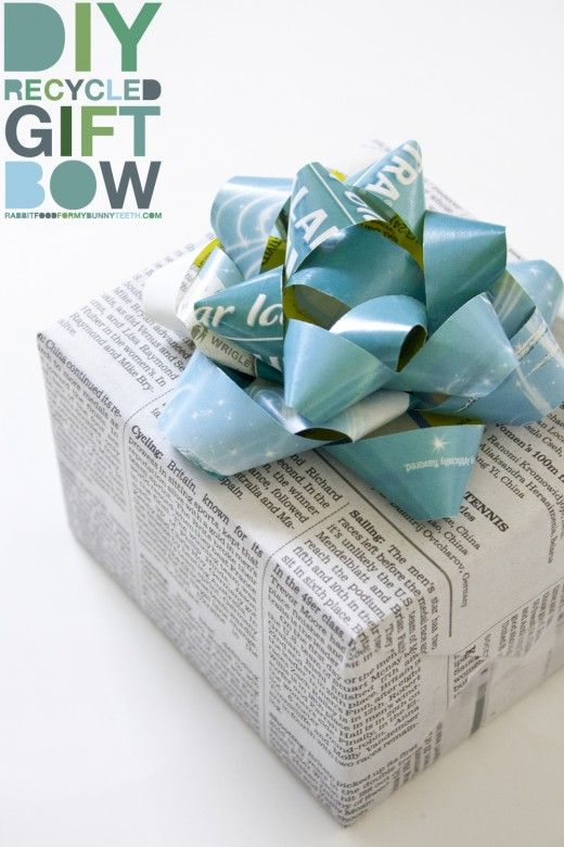 DIY Recycled Gift Bow :     Makes 1 bow    1 magazine page  1 ruler  1 pen  1 pair of scissors  1 stapler  1 roll of tape  10 minutes