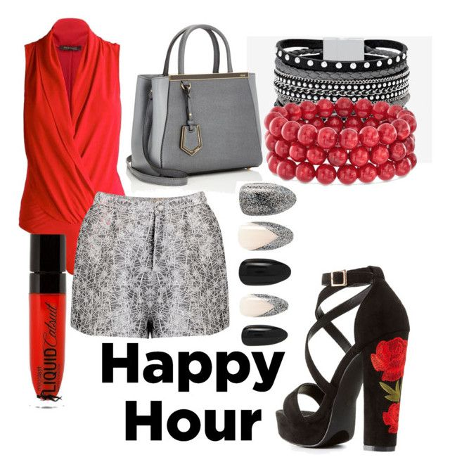 """Happy Hour"" by perfectscreenvixen ❤ liked on Polyvore featuring Charlotte Russe, White House Black Market, Fendi, Ross-Simons, Wet n Wild and Forever 21"