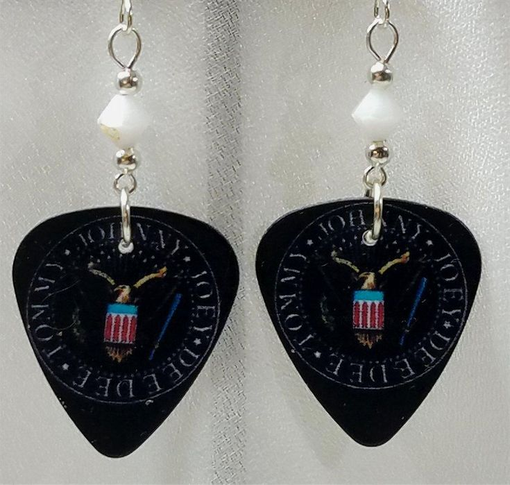 The Ramones Logo Guitar Pick Earrings with White Swarovski Crystals