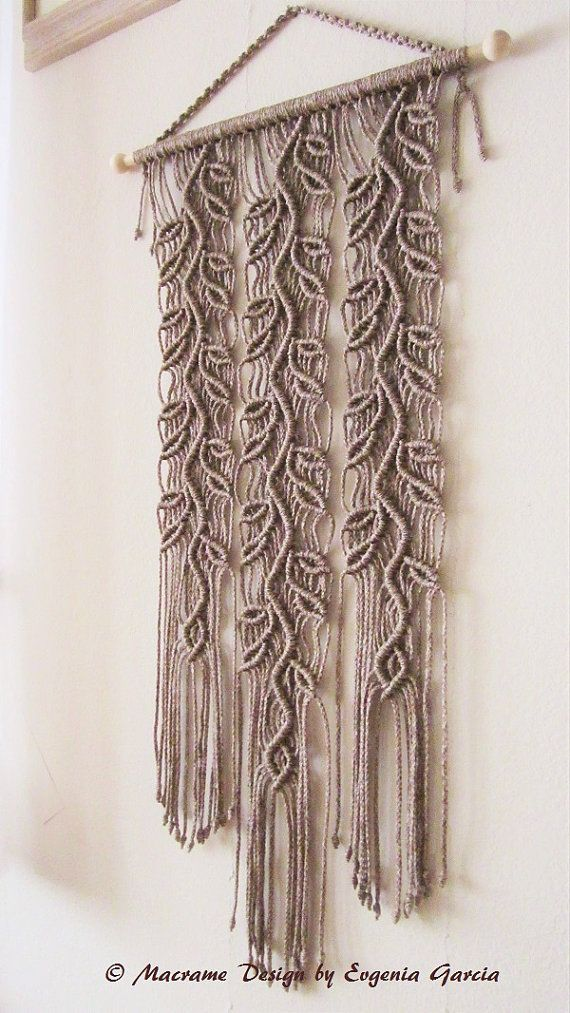 """Macrame wall hanging - Sprigs #4 - trendy and stylish wall decor for your home or office. Handmade, original idea and design by Evgenia Garcia.  Color: pottery (cocoa)  Sizes: Dowel length – 19.75 (50.2 cm) Panel height from top of dowel to the longest end – 36.5"""" (92.7 cm) Cord d = 4 mm  NOTE:  1. The colors on your display may differ slightly from actual colors. 2. Clean the dust with a soft brush gently.  If you have any questions about this item - please contact me. I am ready to help…"""