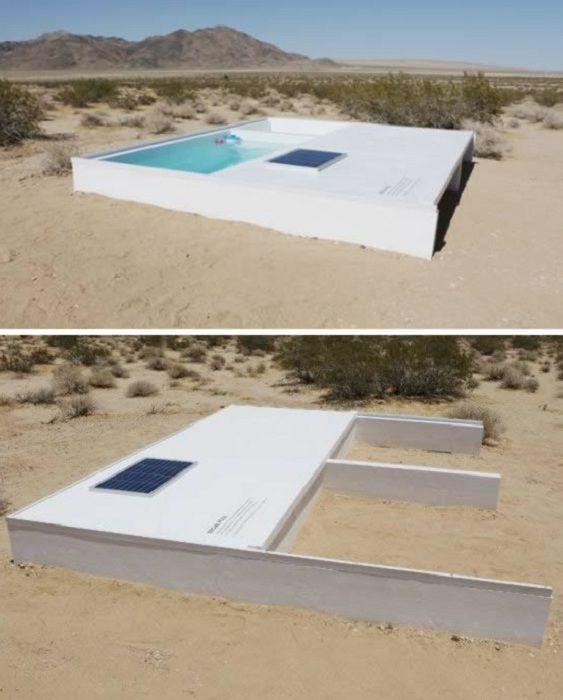 Скрытый бассейн, построенный посреди пустыни.