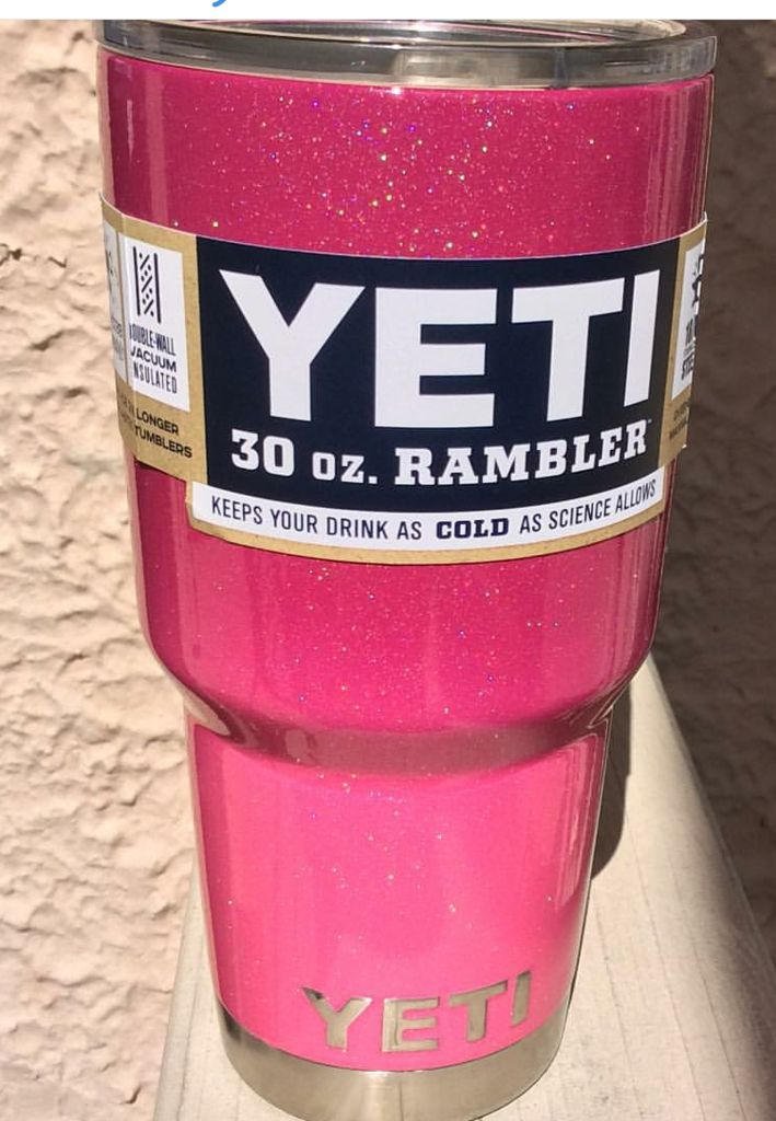a colored yeti tumbler. i like this one because its pink and it sparkles :)