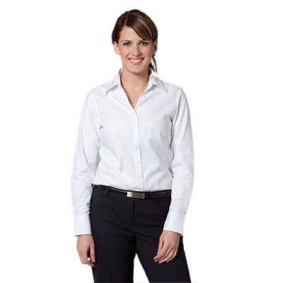 Womens One Toned Stripe Long Sleeve Shirt Min 25 - Clothing - Business Shirts - Her Business Wear - WS-M81021 - Best Value Promotional items including Promotional Merchandise, Printed T shirts, Promotional Mugs, Promotional Clothing and Corporate Gifts from PROMOSXCHAGE - Melbourne, Sydney, Brisbane - Call 1800 PROMOS (776 667)