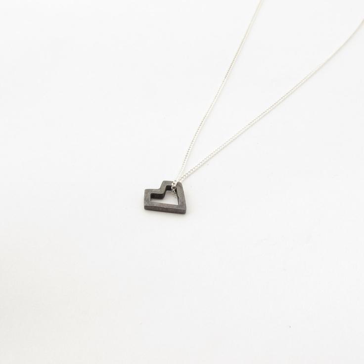 Small heart pendant - Geometric blackened heart on silver chain. $33.00, via Etsy.