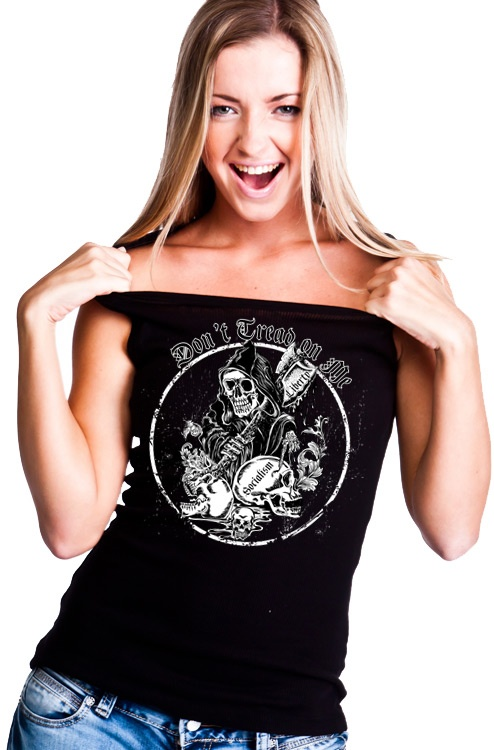 Don't Tread on Me: Grimm Reaper with Liberty Ax.  Price: $20.99 From: sonsoflibertytees.com #t-shirt #tanktop #liberty #patriotic #freedom #womens