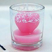 roze hart kaars in glazen vaas – EUR € 1.61