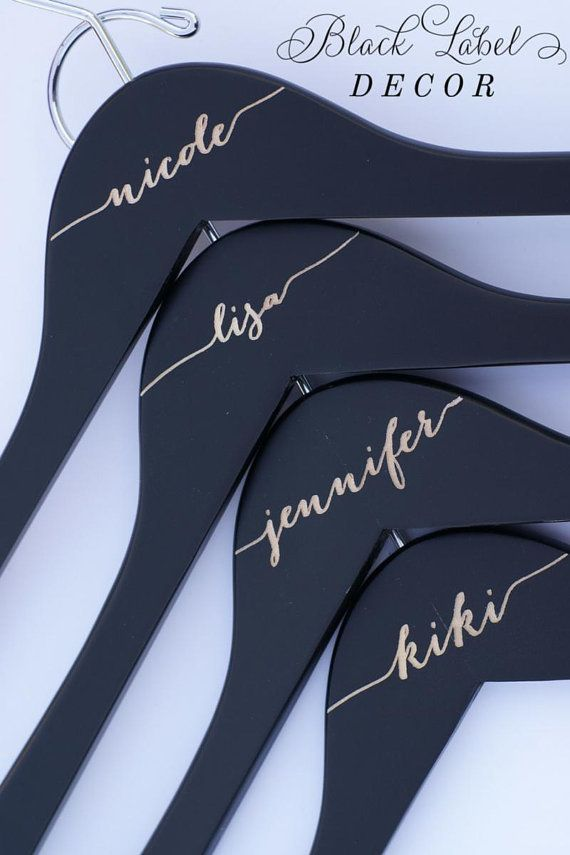 Matte Black Engraved Bridal Party Hangers by BlackLabelDecor