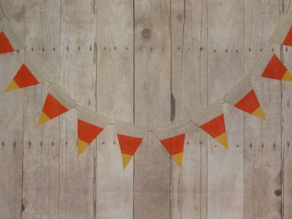 Burlap banner painted to look like candy corn.  Perfect for corporate parties, fall school parties, company events, marketing events, Halloween parties... any fall festival or event.  Also a great way to bring the spirit of Halloween to a kid's bedroom - hang from bed post to bed post or add to your autumn or Halloween decor.  I hang mine on my fireplace mantle.  Flags are approximately 4 x 5 inches each and are sewn onto a hemp flag line.