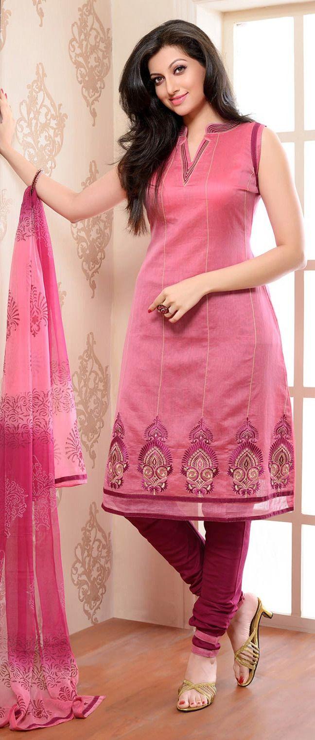 #Pink Chanderi #Silk Churidar Kameez With Dupatta@ $ 62.50