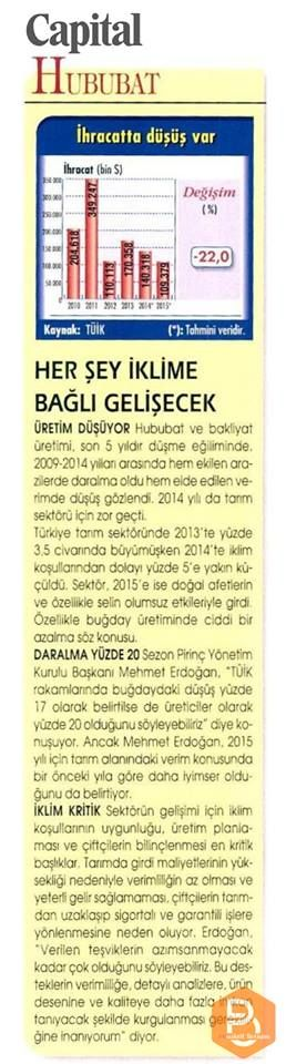 Yönetim Kurulu Başkanımız Mehmet Erdoğan: TÜİK rakamlarında buğdaydaki düşüş yüzde 17 olarak belirtilse de üreticiler olarak yüzde 20 olduğunu söyleyebiliriz.