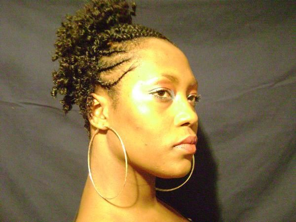 natural hair edgy hairstyles | Flat twists natural hairstyle updo - side - thirstyroots.com: Black ...