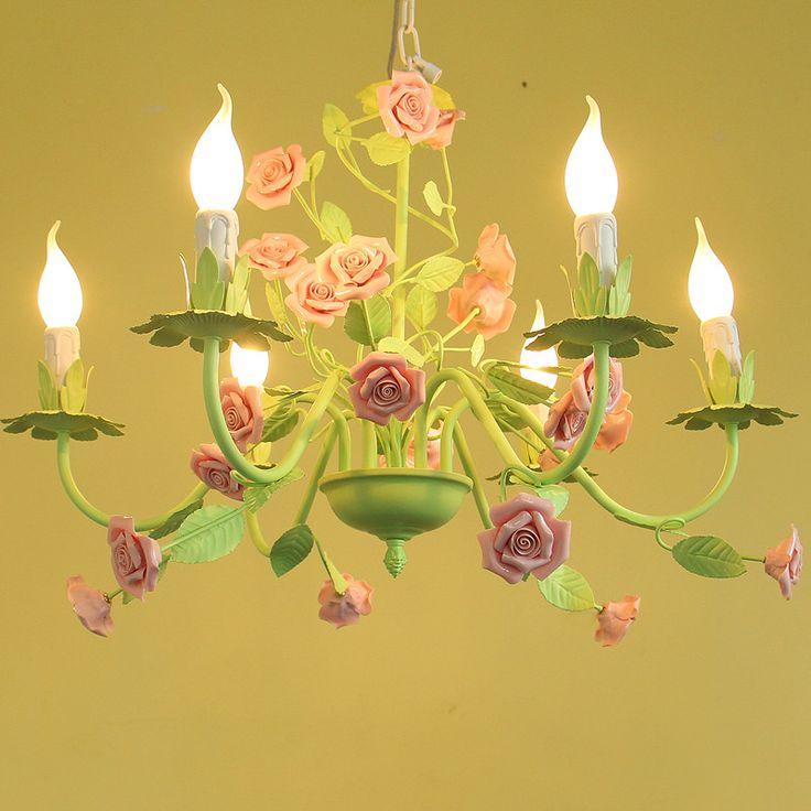 Goedkope Europese tuin stijl bloem meisje kinderen hanglamp ijzer keramische rose Restaurant slaapkamer woonkamer hang lamp, koop Kwaliteit Hanglampen rechtstreeks van Leveranciers van China: Europese tuin stijl bloem meisje kinderen hanglamp ijzer keramische rose Restaurant slaapkamer woonkamer hang lamp