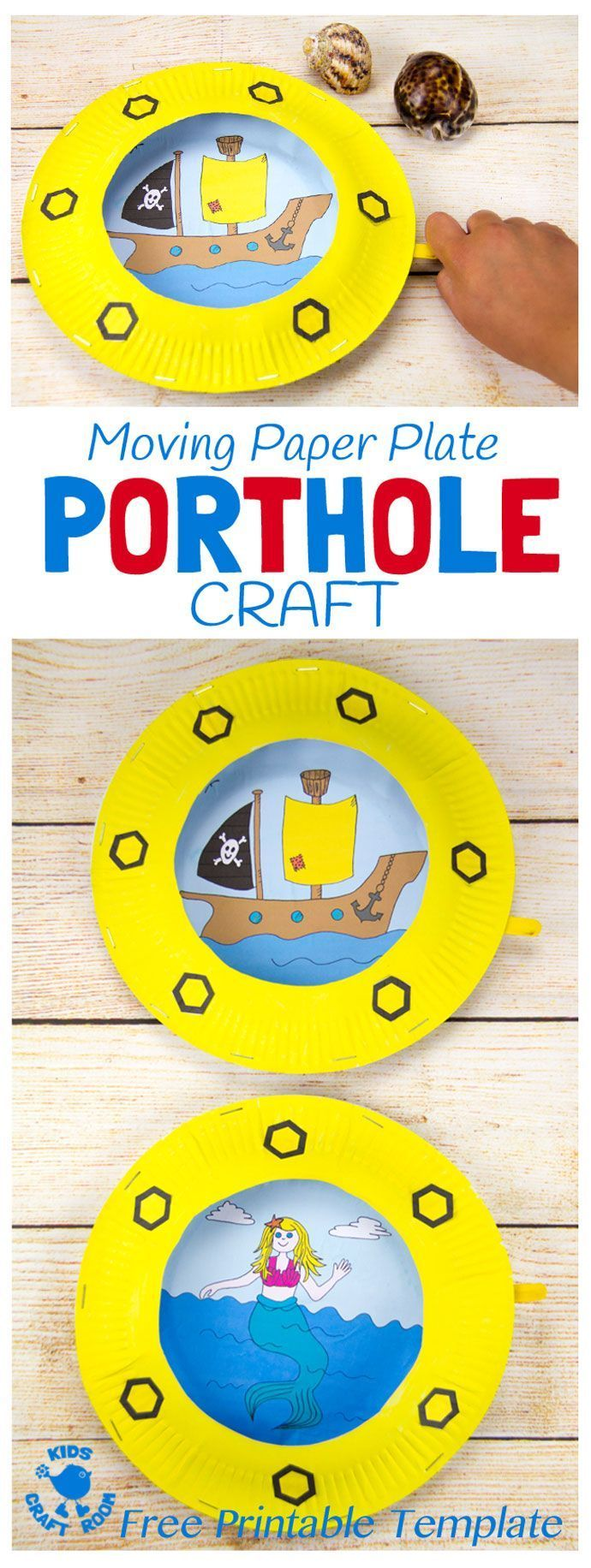 PAPER PLATE PORTHOLE CRAFT - a fantastic ocean craft for kids that love pirates and mermaids. This interactive moving paper plate craft is so fun! Wiggle the handle to make the ocean scene bob up and down like real waves! An exciting Summer craft for kids. (Free black & white and full colour printables available.)
