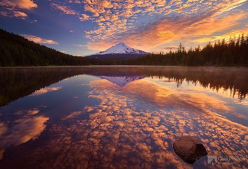 """Mackerel Sky,"" Trillium Lake, Oregon, by Chip Phillips"