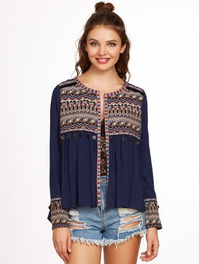 Navy Embroidered Yoke And Cuff Coin Fringe Trim Blouse