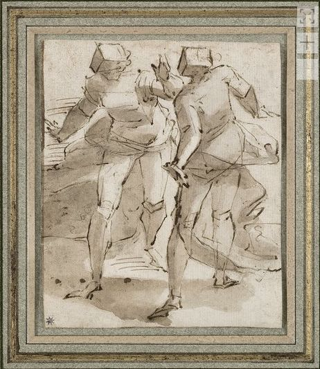 Luca Cambiaso (1527-1585), Studio di due figure, penna e inchiostro marrone.