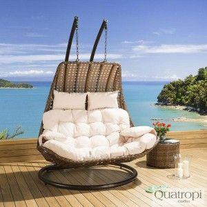 Outdoor Rattan 2 Person Garden Hanging Chair / Sunbed Brown /Cream New