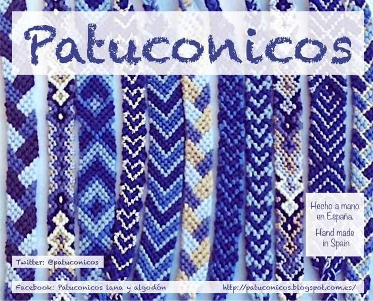 Pulseras Patuconicos hechas a mano con nudos de macramé en España. Diversos modelos tamaño niño o adulto precios 3, 4 y 5€ ... la unidad. Gastos de envío no incluidos.