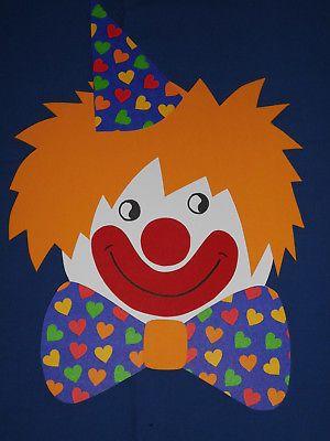 Fensterbild Tonkarton Clown Herz Schleife Hut Gesicht Karneval
