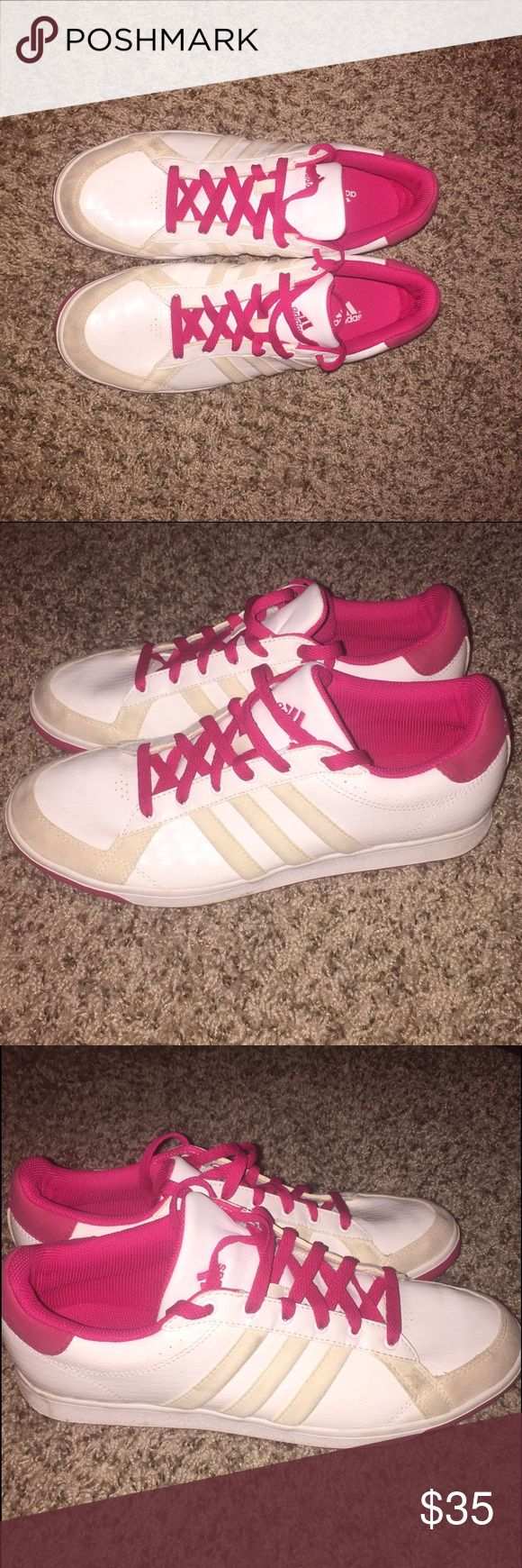 Adidas Originals Superstar Foundation White /Hot P Adidas Originals Superstar Foundation White /Hot Pink Women's Sneakers ... Gently Used , Size 10 ... They still in great shape . Really comfortable Adidas Shoes Sneakers