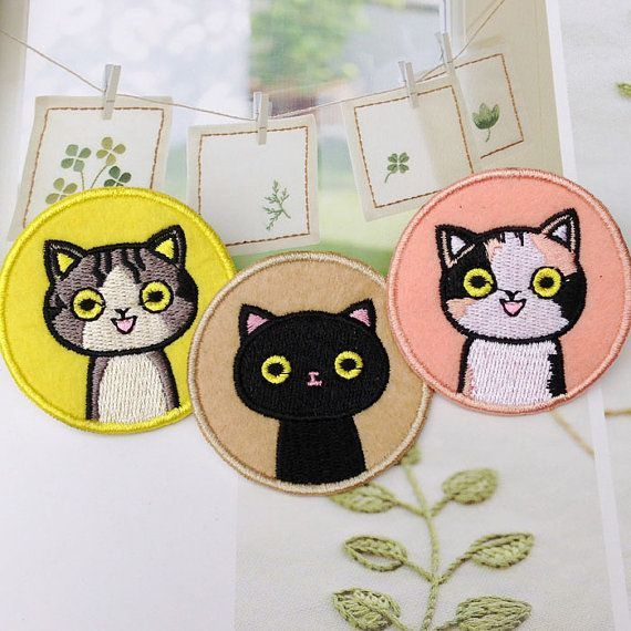 Cute Cat patches iron on patches Sew on patches by Fleckenworld
