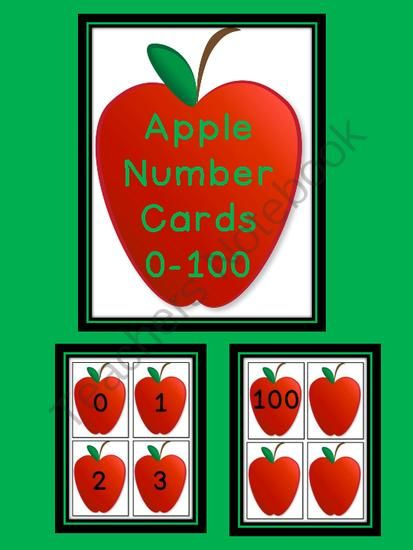 Red Apple Number Flashcards 0-100 from My Kinder Garden on TeachersNotebook.com -  (28 pages)  - Here is a set of apple number cards that can be used at the beginning of the school year or anytime.