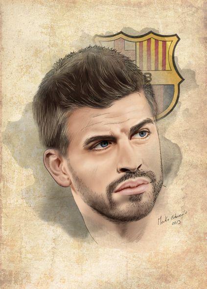 Gerard Pique FC Barcelona by Martin Echeverria, via Behance
