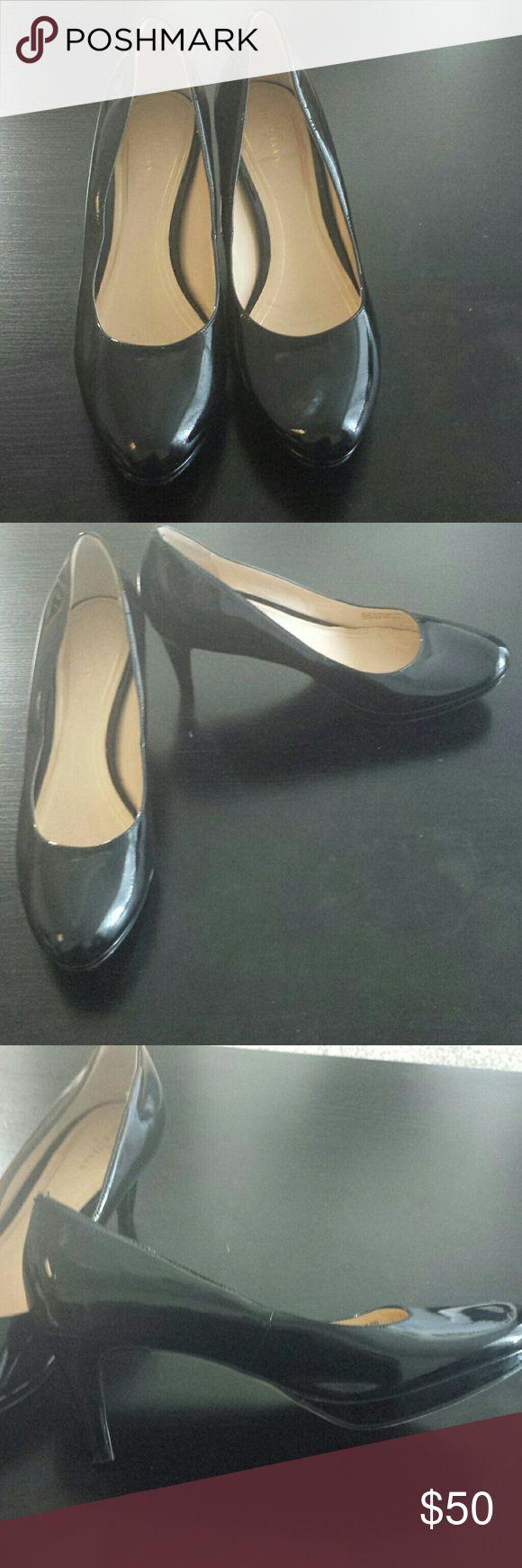 "Cole Haan Nike Air platform black heels size 9 EUC Cole Haan Nike Air platform black patent leather pumps. Approximate 3"" heel. Size 9 Cole Haan Shoes Heels"