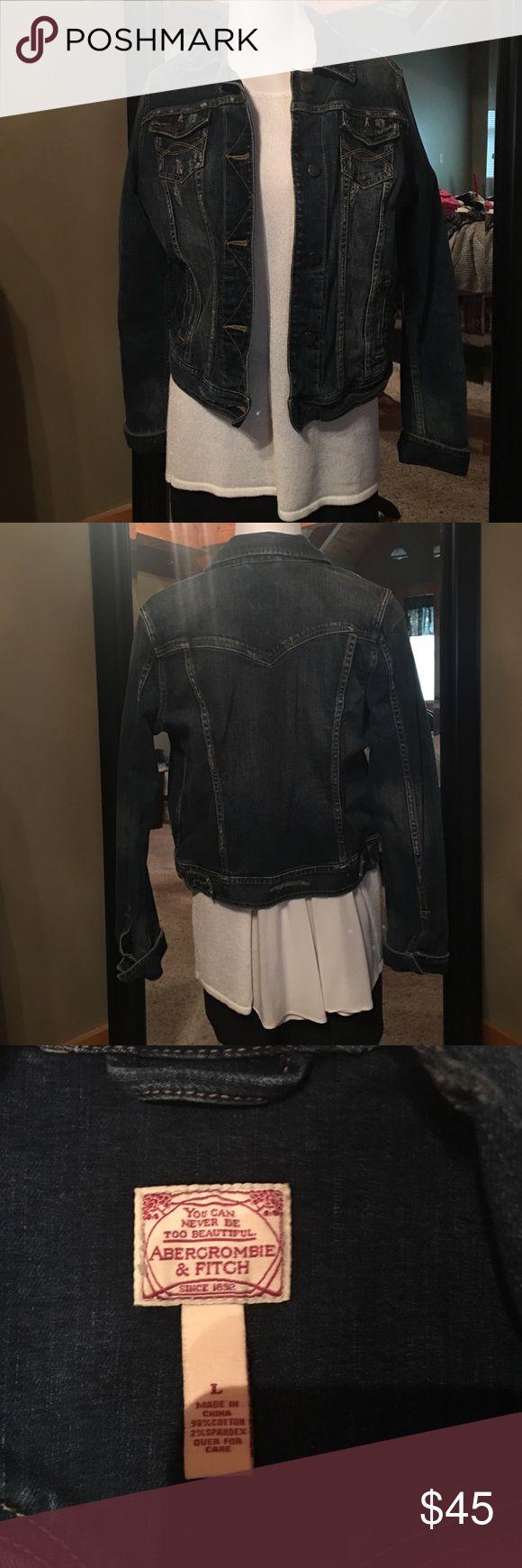 Abercrombie and Fitch denim jacket Dark denim jacket factory destroyed. Abercrombie and Fitch size large. Excellent condition. Abercrombie & Fitch Jackets & Coats Jean Jackets