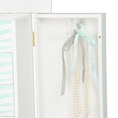 Zebra Kids Jewelry Armoire Metal/Aqua Blue/White - Teamson