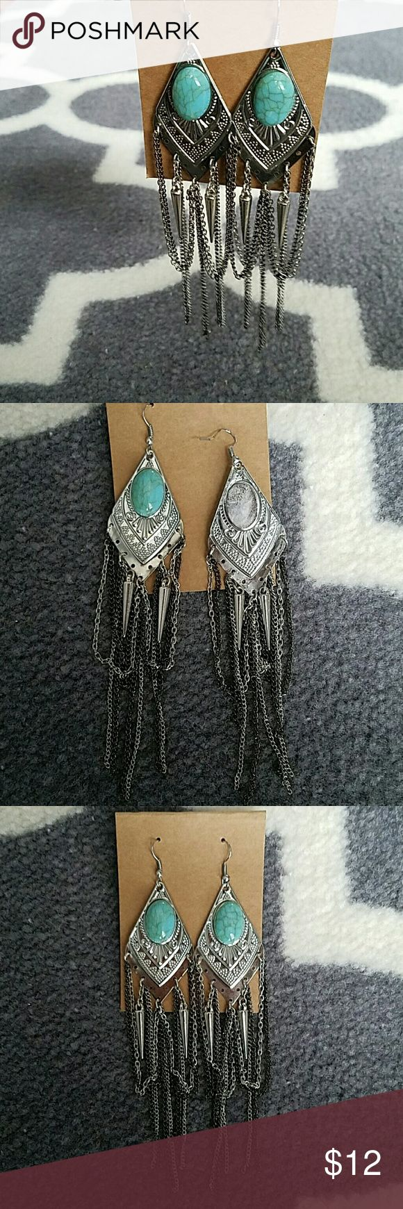 New boho turquoise dangle earrings Earing set with turquoise stone on silver backing. These are a statement! See last picture for measurement. Bundle and get 15% off! Jewelry Earrings