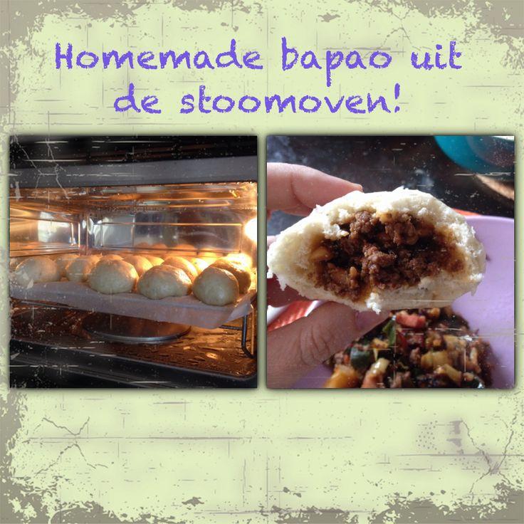 Homemade bapao from steamer oven. Huisgemaakte bapao uit stoomoven; makkelijk, smakelijk en 14 in 1 keer klaar!!