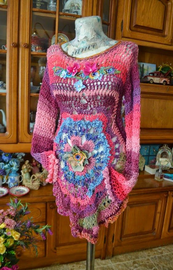 Romantic sweater bohemian sweater freeform crochet por irinacarmen