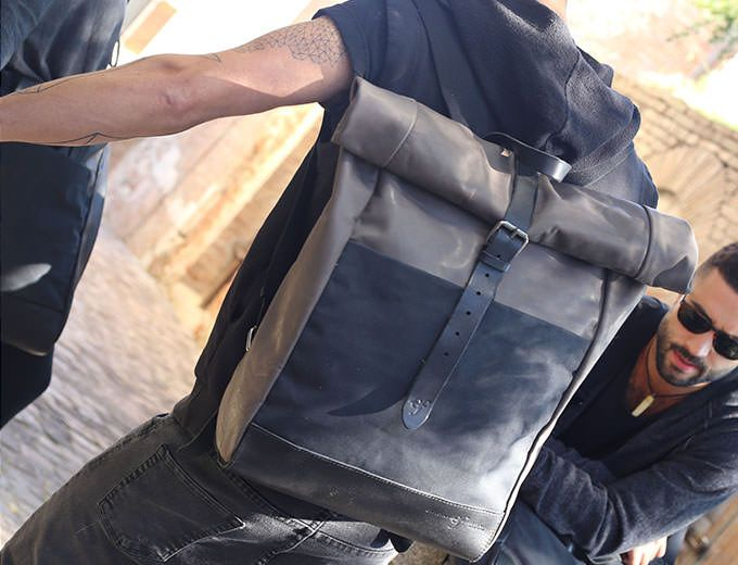 Rollup Backpack Pelle – GRIGIO - Officine Federali