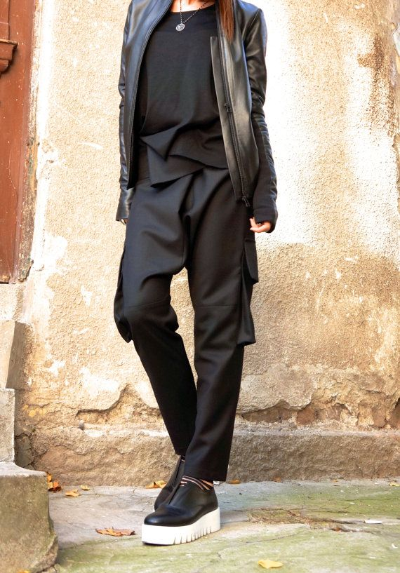 NEW Black  Drop Crotch  Pants / Extravagant Black Trousers with large pockets by AAKASHA A05262