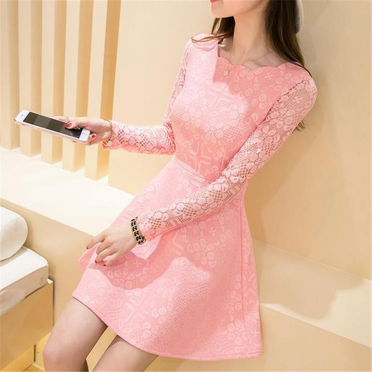 Spring Summer Autumn Women Lace Casual Dress Long Sleeve Korean Party Dresses Vestido White Black Pink Mini Dress Robe Dentelle What a beautiful image Get it here