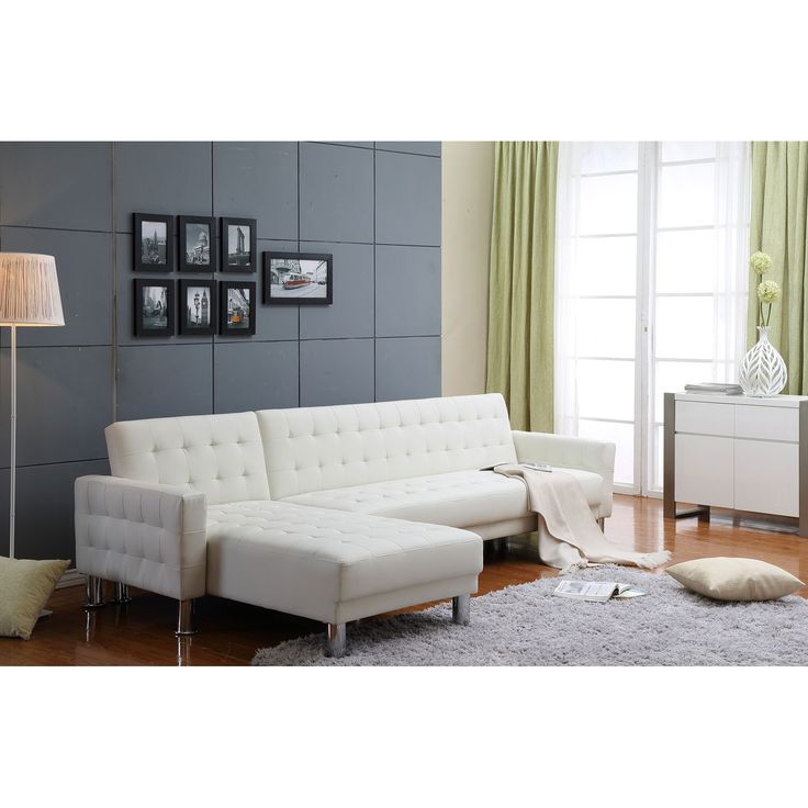 Marsden White Tufted Bi Cast Leather 2 Piece Sectional Sofa Bed Thy Hom Sleeper Sofas Sofa