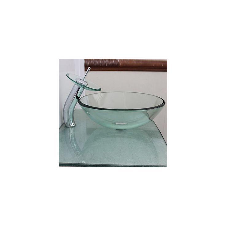 Kaufen (EU Lager) Waschbecken Transparentes Glas mit Wasserfall Wasserhahn mit Günstigste Preis und Gute Service!