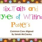 This set of writing posters for the primary classroom will help students focus on the 6 traits of writing: ideas, organization, voice, conventions,...
