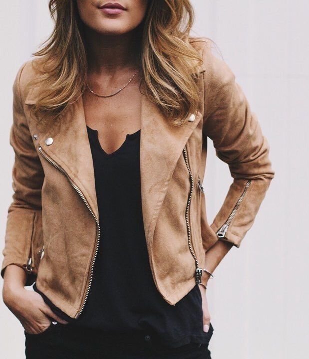 Suede Biker Jacket | Available at http://www.milahills.com/