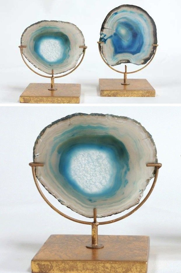 Blue Agate Decor On Stand