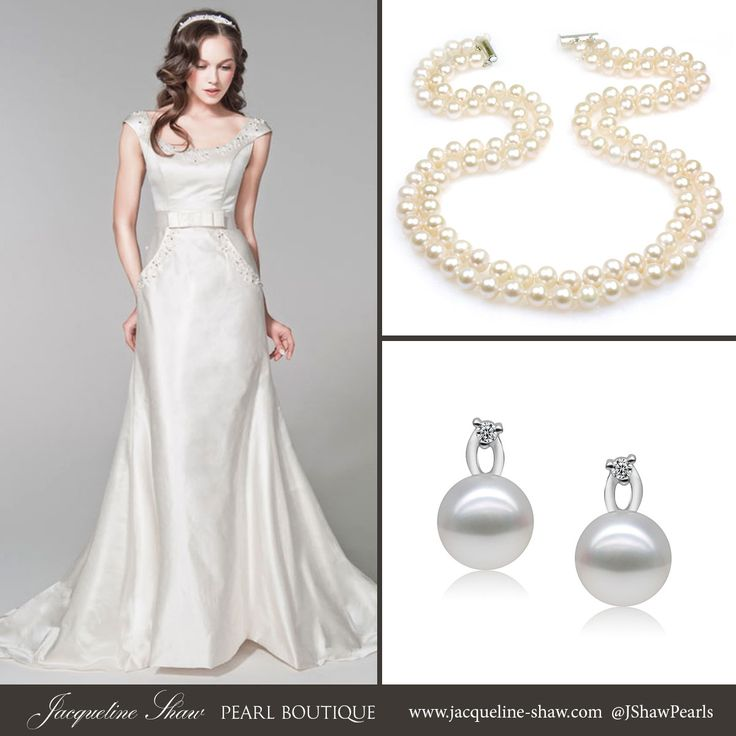 17 best images about wedding pearls inspiration on for Necklace for v neck wedding dress