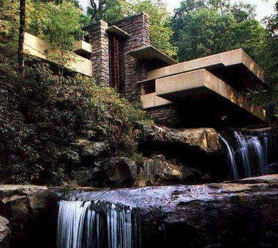 "oh shiz. Frank Lloyd Wright ""house over waterfall"""