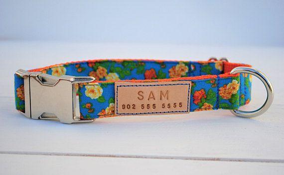 Marigolds dog collar, floral dog collar, dog collar with flowers, spring floral print, metal buckle collar, spring flower print, blue collar
