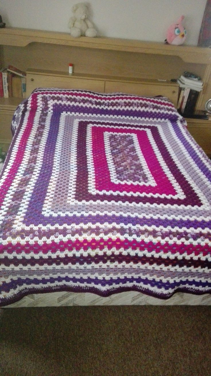 My double bed granny square blanket
