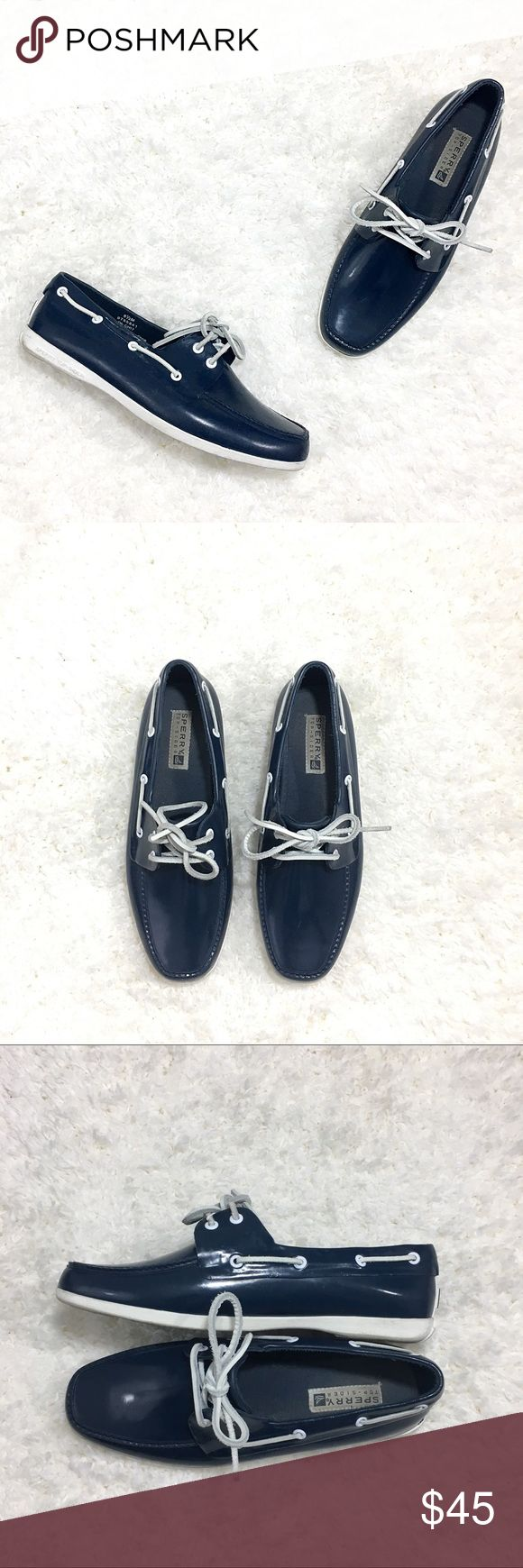 🆕 Listing!  Sperry | Vintage Rubber Shoes Navy, waterproof rubber boat shoes.  White leather laces.  Some marks to leather typical of vintage shoes.  In otherwise great condition.  These are way cool, I've never seen any like them before.  Love! Sperry Shoes Flats & Loafers