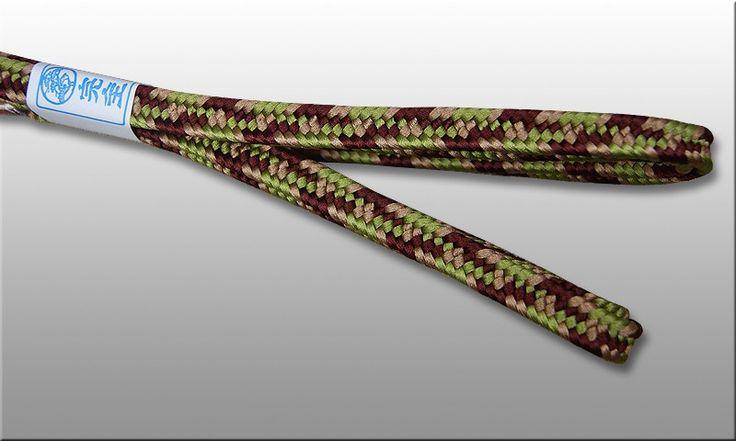 Shigeuchi sageo 3-color namikawa pattern. Colors inspired by nature - maroon, igusa green & beige, lenth 220cm for katana samurai sword. Handmade cord in traditional japanese kumihimo workshop.