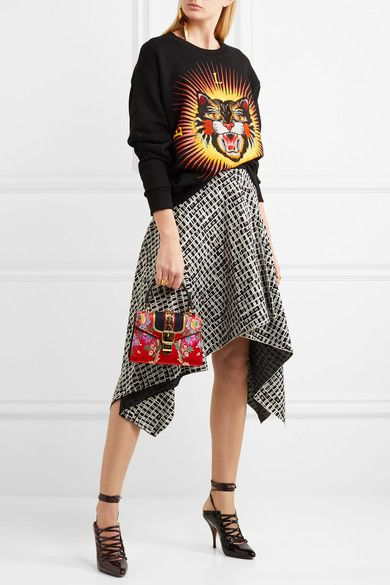 Gucci - Sylvie Mini Chain-embellished Jacquard Tote - Red - one size